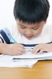 执行纵向男小学生schoolwork 免版税图库摄影
