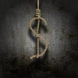 执行绞刑的人的结被塑造象一美元 图库摄影