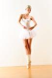 执行芭蕾姿势的芭蕾舞女演员在工作室 库存图片