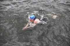 执行蛙泳的盖帽和保温潜水服的游泳者在黑暗的海水 库存图片