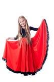 执行西班牙舞蹈的小女孩 免版税图库摄影