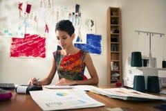 执行预算值的西班牙妇女在方式工作室 免版税图库摄影