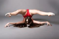 执行,在黑暗的背景的年轻女性contortionis 免版税库存照片