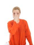 执行practics女子瑜伽年轻人的呼吸 图库摄影