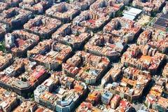 扩展区住宅区鸟瞰图  巴塞罗那 免版税库存图片