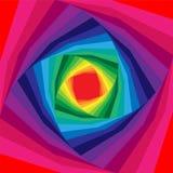 扩展从中心的五颜六色的螺旋 呈虹彩的背景 深度和容量错觉  库存例证