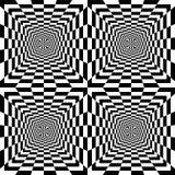 扩展从中心的无缝的黑白长方形 免版税库存图片