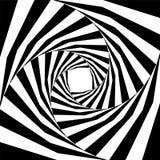 扩展从中心的黑白镶边螺旋 深度和容量错觉  免版税库存照片