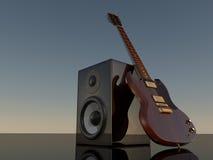扩音器和E吉他 免版税库存图片