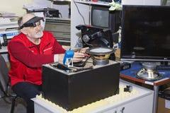 扩音器系统修理  图库摄影