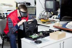 扩音器系统索尼修理和放大器烙记 库存图片