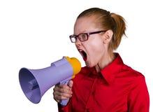 扩音机叫喊的妇女 免版税图库摄影
