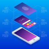 扫描指纹的等量概念在智能手机的,在蓝色背景 打开手机 com接地地球例证文本 向量例证
