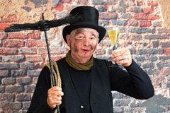 扫烟囱的人新年度多士 免版税库存照片