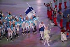 扬内举着芬兰的旗子的Ahonyen带领芬兰奥林匹克队在平昌郡2018年冬奥会 库存图片