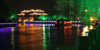 扬州晚上场面  库存照片