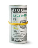 扭转和逐渐变细的橡皮筋儿一百美元票据 图库摄影