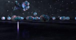 扭转的油漆水滴行星和宇宙的概念性背景 免版税库存图片