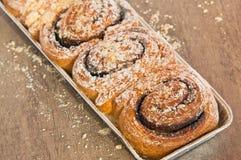 扭转的甜小圆面包用巧克力 库存照片