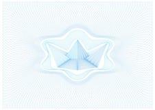 扭索状装饰传染媒介背景与纸小船的网格图形在中心 免版税库存照片
