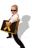 扮演角色的男孩精力充沛的作用 图库摄影