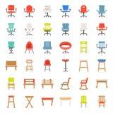 扶手椅子、沙发和长凳,平的设计象 向量例证