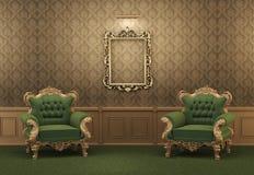 扶手椅子倒空框架金黄墙壁 库存例证