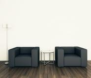 扶手椅子内部最小现代 免版税库存图片