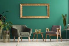 扶手椅子在绿色客厅 库存照片