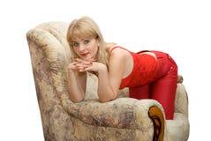 扶手椅子妇女 免版税库存图片