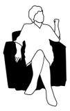 扶手椅子妇女 免版税库存照片