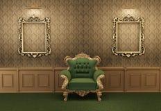 扶手椅子巴洛克式的框架内部豪华 库存例证