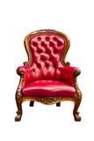 扶手椅子查出的皮革豪华红色 免版税库存图片
