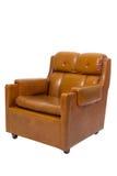扶手椅子棕色皮革葡萄酒 免版税库存图片