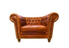 扶手椅子棕色皮革葡萄酒 免版税库存照片