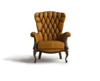 扶手椅子棕色皮革 免版税库存照片
