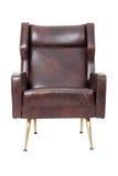 扶手椅子棕色皮革 免版税库存图片