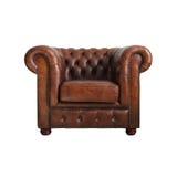 扶手椅子棕色经典皮革 免版税库存照片