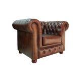扶手椅子棕色经典皮革 库存图片