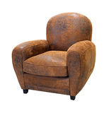 扶手椅子皮革老 库存图片