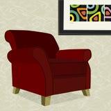 扶手椅子红色天鹅绒 免版税库存图片
