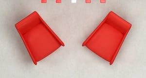 扶手椅子红顶二视图 免版税库存图片