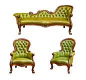 扶手椅子绿色皮革豪华 图库摄影