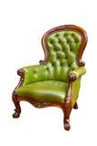 扶手椅子绿色皮革豪华 免版税图库摄影