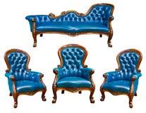 扶手椅子蓝色皮革豪华集 免版税图库摄影