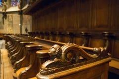 扶手椅子行在有被雕刻的扶手栏杆的天主教堂里 免版税图库摄影