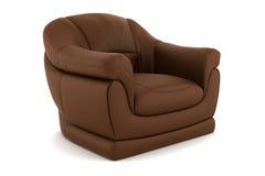扶手椅子褐色查出的皮革白色 图库摄影