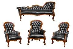 扶手椅子黑色查出的皮革豪华 免版税库存图片