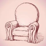 扶手椅子 得出花卉草向量的背景 免版税库存照片