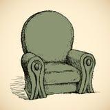 扶手椅子 得出花卉草向量的背景 免版税库存图片